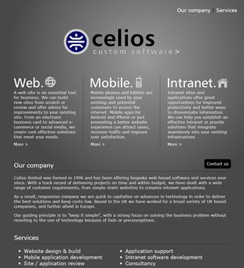 Celios custom software screenshot
